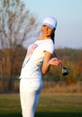 Girl golf player posing beautiful Royalty Free Stock Images