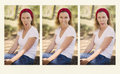 Girl gone crazy with faces a woman in a moment of craziness and fun makes strange weird while sitting in the park Royalty Free Stock Photography