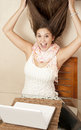 Girl gone crazy in front of laptop Stock Photos