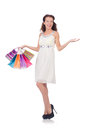 Girl after good shopping on white Stock Photography