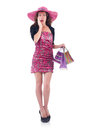 Girl after good shopping on white Royalty Free Stock Photos