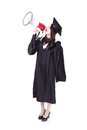 Girl graduate student happy with megaphone wear graduation cap and gown isolated on white background asian woman Royalty Free Stock Photography