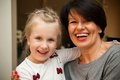 Girl and grandmother smiling Royalty Free Stock Photo