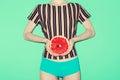 Girl and grapefruit, vanilla, fashion style, minimal Royalty Free Stock Photo