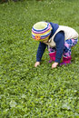 Girl in grass little trying to take the hands Royalty Free Stock Images