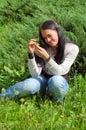 Girl grass young 免版税库存照片