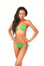 Girl in green bikini Stock Images
