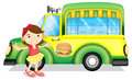A girl beside a green burger truck illustration of on white background Stock Images