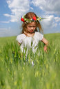 Girl in green field portrait Royalty Free Stock Photos