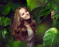 Girl in Green Mystical Forest Royalty Free Stock Photo