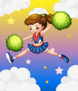 A girl with green pompoms illustration of Royalty Free Stock Image