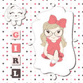 Girl greeting card Stock Image