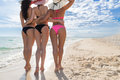 Girl Group On Beach Summer Vacation, Young Woman Back Rear View Closeup Royalty Free Stock Photo