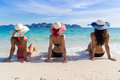 Girl Group On Beach Summer Vacation, Young Woman Back Rear View Sit On Sand Royalty Free Stock Photo