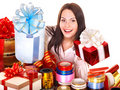Girl with group of color gift box. Royalty Free Stock Image