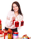 Girl with group  gift box. Stock Photos