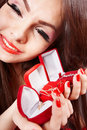 Girl with group jewellery box . Valentines day. Royalty Free Stock Photos