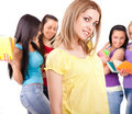 Girl and a group of university students Royalty Free Stock Photography
