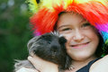 Girl with Guinea Pig Royalty Free Stock Photo