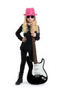 Girl guitar little with and pink hat white background Royalty Free Stock Images