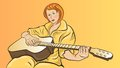 Girl with a guitar red haired sitting on yellow plays acoustic Stock Photography