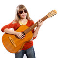 Girl with a guitar singing on white background Royalty Free Stock Images