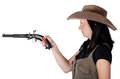 Girl with guns aiming isolated Royalty Free Stock Image
