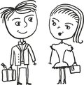 Girl and guy travel in vector Stock Image