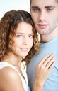 Girl and guy young calm couple looking at camera Stock Photography
