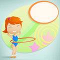 Girl gymnast with red hula-hoop Stock Photo