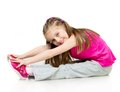 Girl gymnast young over white background Royalty Free Stock Images