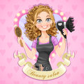 Girl hairdresser in the framework medallion beauty salon beautiful Stock Photo