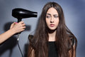 Girl with hairdryer dries long hair Stock Photography
