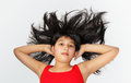 Girl and hairs on white background Royalty Free Stock Photos