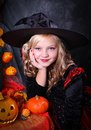 Girl in Halloween costume Stock Images
