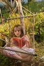 Girl in hammock dream Royalty Free Stock Photos