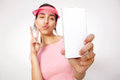 Girl with hand peace sign taking selfie with cell phone Royalty Free Stock Photo