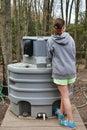 Girl at Hand Washing Station Royalty Free Stock Photo
