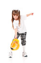 Girl with hard hat little yellow isolated on white background Stock Photos