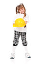 Girl in hard hat white t shirt on a little with yellow isolated on white background Royalty Free Stock Photo