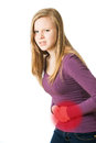Picture : Girl has abdominal pain one hoodie working