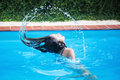 Girl has fun in the pool cute young tosses her wet hairs a swimming Stock Photography
