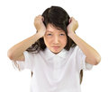 Girl has a headache Royalty Free Stock Photo