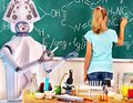 Girl has interactive online learning chemistry and biology course. Royalty Free Stock Photo