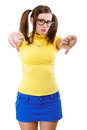 Girl has lowered thumb downwards isolated on white background Royalty Free Stock Photo