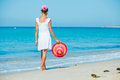 Girl with hat on the beach Royalty Free Stock Photo