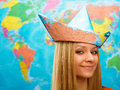 Girl in a hat from map cute traveler Stock Photo