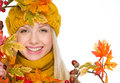 Girl in hat and scarf with autumn bouquet isolated on white Stock Photo