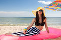 Girl have a rest at the beach stylish Royalty Free Stock Photography