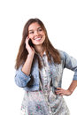 Girl having conversation by mobile phone portrait of a Royalty Free Stock Images